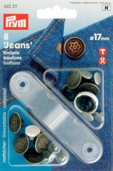 PRYM NF-Jeans-Knöpfe Blume MS 17 mm altmessing