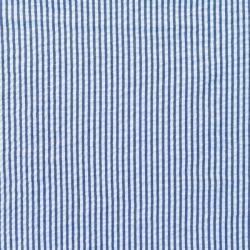 Baumwoll Stoff Seersucker Streifen Uni Dunkelblau