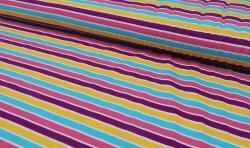 Baumwoll Jersey Stoff bedruckt - bunte Streifen