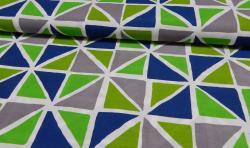 Bedruckter Baumwoll Canvas Meterware Stoff Dreiecke grau blau grün