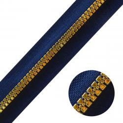 DELRIN Metallisierter Reißverschluss - Meterware marine-gold