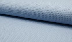 Waffel Piqué Baumwoll Stoff Meterware Mittelblau