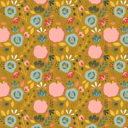 Beschichtete Baumwoll Stoff Blumenbeet - ockergelb
