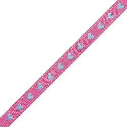 Webband kleine Herzen / pink - flieder