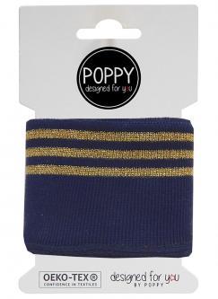 Cuff Poppy - Fertigbündchen College Lurex Streifen marine gold