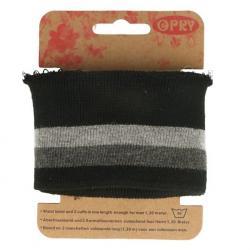Cuff Opry - Fertigbündchen Streifen schwarz grau 100cm