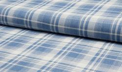 Leichter Hemden Jeans Stoff Schottenkaro hellblau