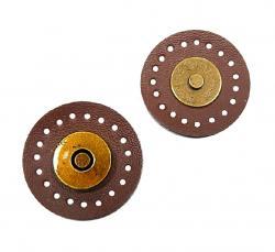 1 Leder Magnet Druckknopf Magnetknopf dunkelbraun