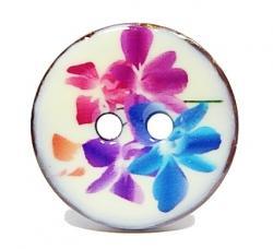 Knopf Kokosnuß lackiert 18mm my flower