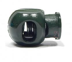 Kordelstopper Cube 1-Loch / flaschengrün