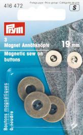 PRYM Magnet-Annähknöpfe 19 mm altmessing