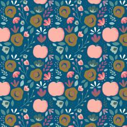 Beschichtete Baumwoll Stoff Blumenbeet - blau