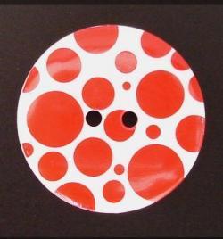 Großer Deko Knopf weiß rot
