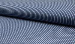Leichter Hemden Jeans Stoff Jacquard streifen 5mm mittelblau
