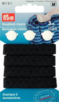 PRYM Knopfloch-Elastic mit 3 Knöpfen 12 mm schwarz