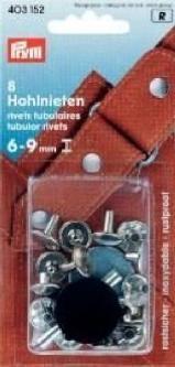 PRYM Hohlnieten Klemmber. 6-9 mm MS silberfarbig