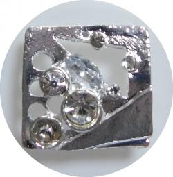 Exclusiv Metall Strassknopf Timon silber