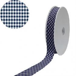 1 Rolle Baumwoll / Vichy Karo Schrägband 40/20 - dunkelblau - weiss