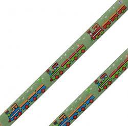 Webband mit Zügen 15mm grün - bunt