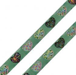 Webband Blumenherzen 15mm lindgrün bunt