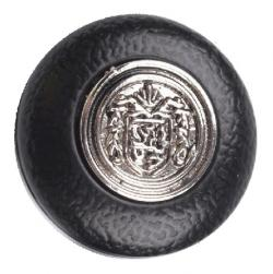 Kunststoff / Wappen Knopf schwarz silber 22mm