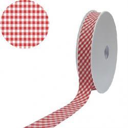 1 Rolle Baumwoll / Vichy Karo Schrägband 40/20 - rot - weiss