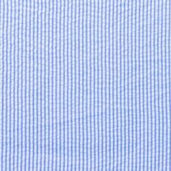 Baumwoll Stoff Seersucker Streifen Uni Jeansblau