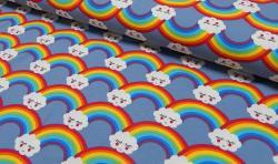 Baumwoll Jersey Stoff Bedruckt - Regenbogen - blau bunt