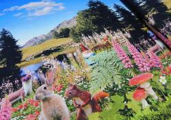 Baumwoll Jersey Stoff Digital Druck Lanschaft & Tiere