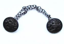 Doppel Metall Münzen Knopf mit Kette 22mm