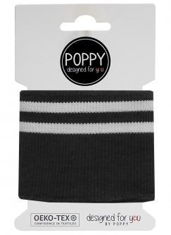Cuff Poppy - Fertigbündchen College Streifen schwarz weiss