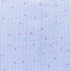 Baumwoll Stoff Seersucker Streifen mit Sternen Jeansblau