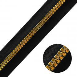 DELRIN Metallisierter Reißverschluss Meterware endlos schwarz gold schwarz-gold