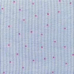 Baumwoll Stoff Seersucker Streifen mit Sternen Dunkelblau