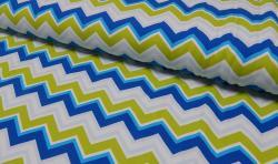 Baumwoll Jersey Stoff bedruckt - ZickZack - gelb blau weiss
