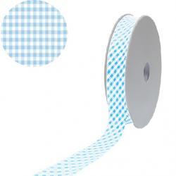1 Rolle Baumwoll / Vichy Karo Schrägband 40/20 - hellblau - weiss