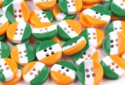 Kunststoff Hemdenknopf grün, weiß, orange 12mm