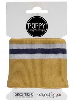 Cuff Poppy - Fertigbündchen Multi College Streifen ocker