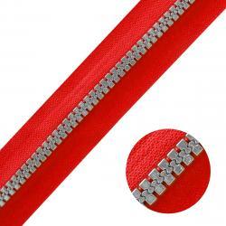 DELRIN Metallisierter Reißverschluss - Meterware rot-silber