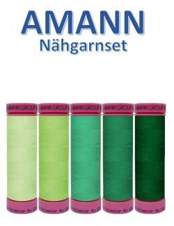 AMANN 5er Nähgarn Set Grün Farbtöne Allesnäher Grün Töne