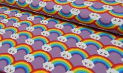 Baumwoll Jersey Stoff Bedruckt - Regenbogen - flieder bunt