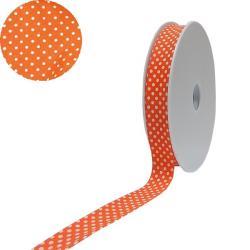 1 Rolle Baumwoll / gepunktetes Schrägband 40/20 - orange - weiss