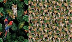 Baumwoll Jersey PANEL Stoff Tiger im Dschungel
