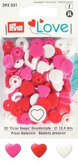 Prym Love Druckknöpfe Color Snaps Herz rot/weiss/pink
