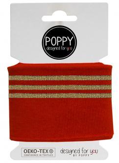 Cuff Poppy - Fertigbündchen College Lurex Streifen rot gold