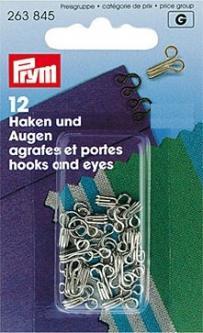 PRYM Federhaken und Augen MS 3 silberfarbig