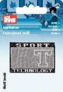 PRYM Applikation Label Sport schwarz/grau