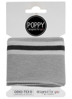Cuff Poppy - Fertigbündchen College Streifen grau melange
