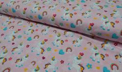 Baumwoll Jersey Stoff bedruckt - kleine Einhörner - rosa