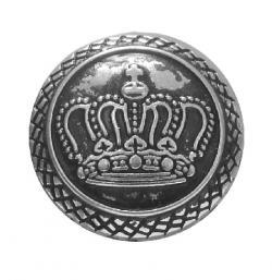 Metall Wappen Knopf *KRONE* altsilber 20mm